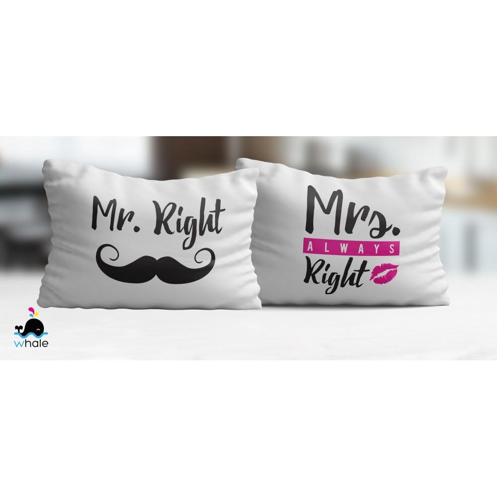 Cuscini Mr Right Mrs Always Right.Coppia Di Cuscini Mr Right Mrs Always Right